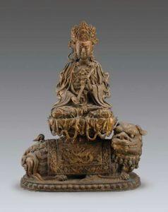 鎏金文殊菩萨铜造像